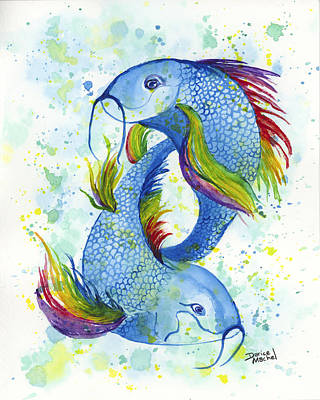 Poster featuring the painting Rainbow Koi by Darice Machel McGuire