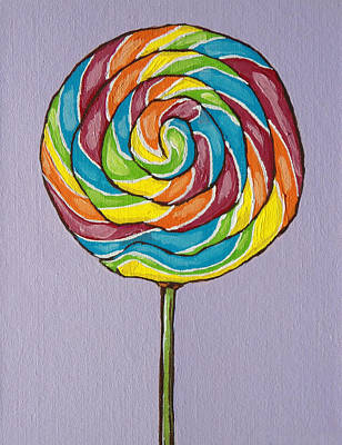 Rainbow Lollipop Poster by Sandy Tracey