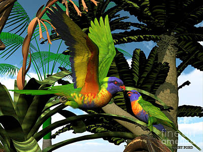 Rainbow Lorikeet Parrots Poster by Corey Ford