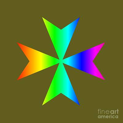 Rainbow Maltese Cross Poster by Frederick Holiday