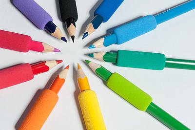 Rainbow Of Crayons Poster