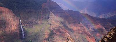 Rainbow Over A Canyon, Waimea Canyon Poster