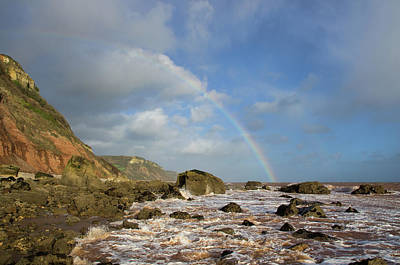 Rainbow Over Dunscombe Cliff Poster