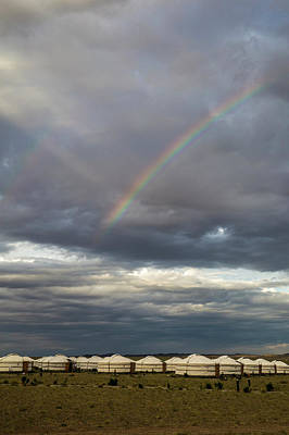 Poster featuring the photograph Rainbow Over Ger Camp, Gobi, 2016 by Hitendra SINKAR