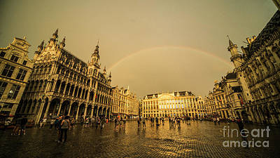 Rainbow Over Le Grand Place  Poster by Rob Hawkins