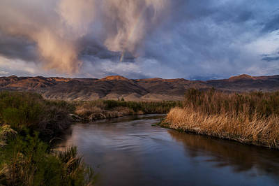 Rainbow Over Lower Owens River Poster by Cat Connor