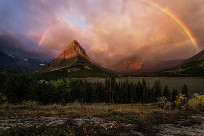 Rainbow Over Mt Gould Poster