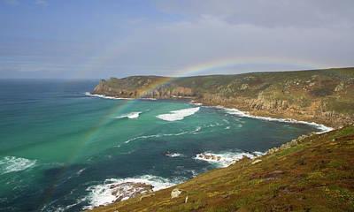 Rainbow Over Nanjizal Bay In Cornwall Poster