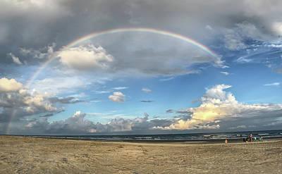 Rainbow Over Ocean Poster