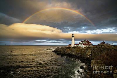 Rainbow Over Portland Head Light Poster by Benjamin Williamson