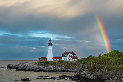 Rainbow Over Portland Head Light Poster