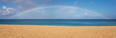 Rainbow Over The Pacific Panorama - Waimea Beach Oahu Hawaii Poster