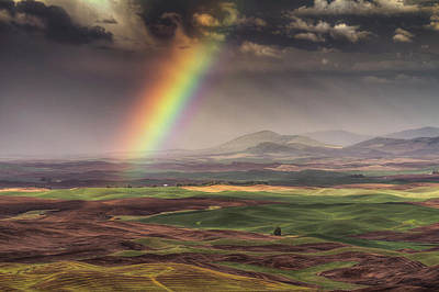 Rainbow Over The Palouse Poster