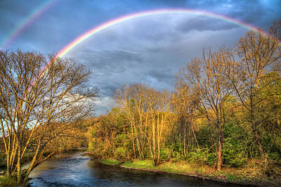 Poster featuring the photograph Rainbow Over The River by Debra and Dave Vanderlaan