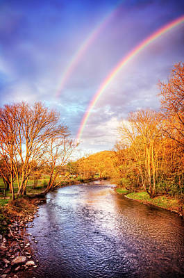 Poster featuring the photograph Rainbow Over The River II by Debra and Dave Vanderlaan