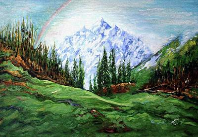 Rainbow Over The Snow Covered Mountain Poster