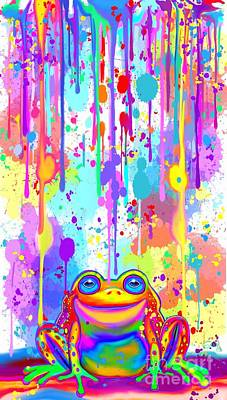 Poster featuring the painting Rainbow Painted Frog  by Nick Gustafson