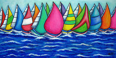 Rainbow Regatta Poster by Lisa  Lorenz