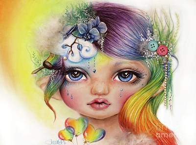 Poster featuring the mixed media Rainbow Rosalie  by Sheena Pike