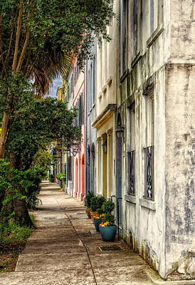 Rainbow Row Sidewalk View - 4 Poster