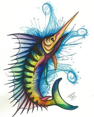 Rainbow Sailfish Poster by Sarah Jane