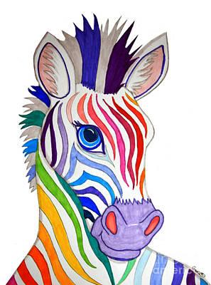 Rainbow Striped Zebra Poster by Nick Gustafson