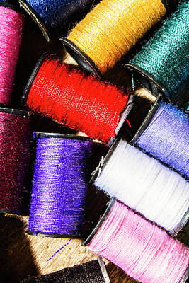 Poster featuring the photograph Rainbow Threads Sewing Equipment by Jorgo Photography - Wall Art Gallery