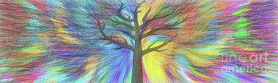 Poster featuring the digital art Rainbow Tree By Kaye Menner by Kaye Menner