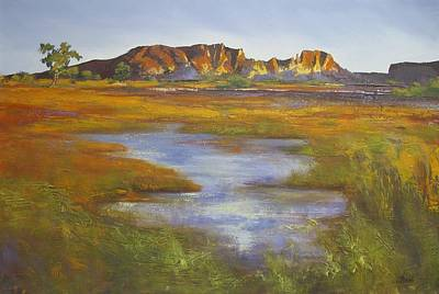 Poster featuring the painting Rainbow Valley Northern Territory Australia by Chris Hobel