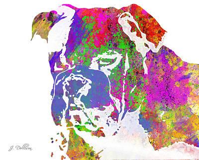 Rainbow Watercolor Bulldog Poster