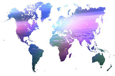 Rainbow World Map. Blue Purple Poster by Jenny Rainbow