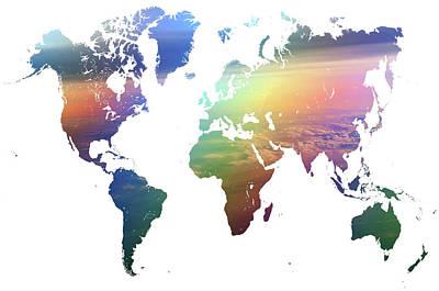 Rainbow World Map Poster by Jenny Rainbow