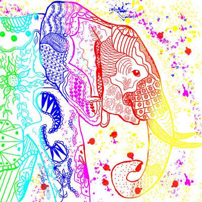 Rainbow Zentangle Elephant Poster by Becky Herrera