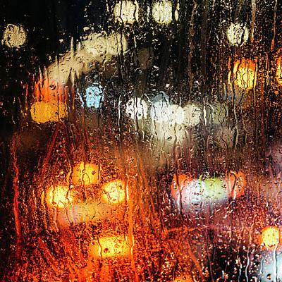 Raindrops On Street Window Poster