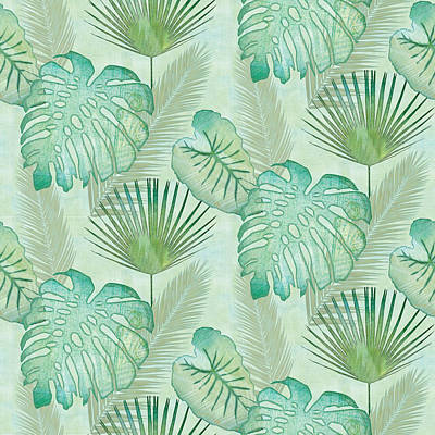Rainforest Tropical - Elephant Ear And Fan Palm Leaves Repeat Pattern Poster by Audrey Jeanne Roberts