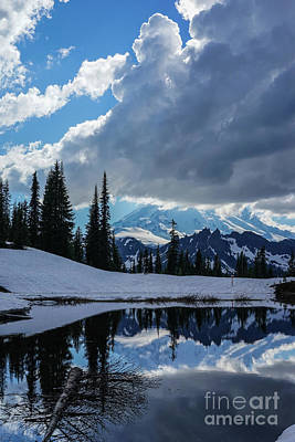 Rainier Reflection Dramatic Skies Poster by Mike Reid
