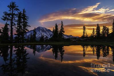 Rainier Sunrise Reflection #2 Poster by Mike Reid