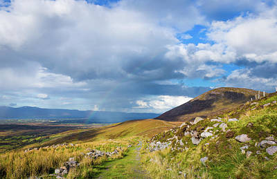 Raining Down And Sunshine With Rainbow On The Countryside In Ire Poster by Semmick Photo