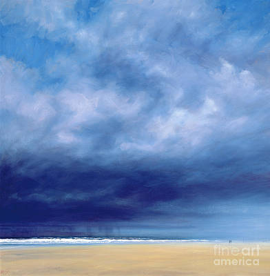 Rainstorm Off Holkham Beach  Poster by Derek Hare