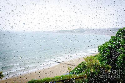Rainy Day Beach Holiday Vacation Rain Indoors Window Seaside Poster