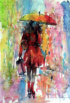 Poster featuring the painting Rainy Day by Kovacs Anna Brigitta