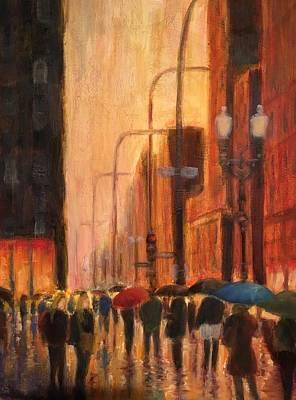 Rainy Evening Chicago Poster