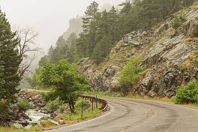 Poster featuring the photograph Rainy Misty Boulder Creek And Boulder Canyon Drive by James BO Insogna