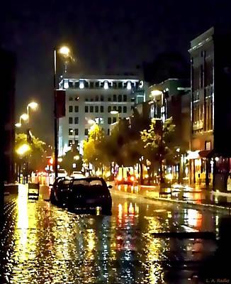 Rainy Night In Green Bay Poster