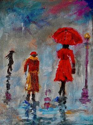 Poster featuring the painting Rainy Spring Day by Sher Nasser