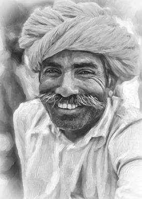 Rajput High School Teacher - Paint Bw Poster by Steve Harrington