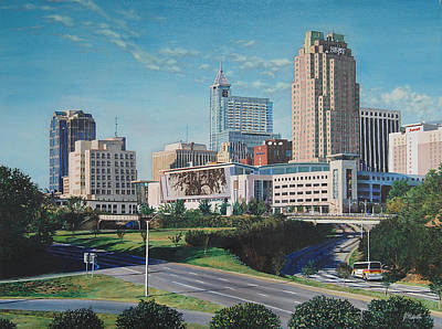 Raleigh Downtown Realistic Poster