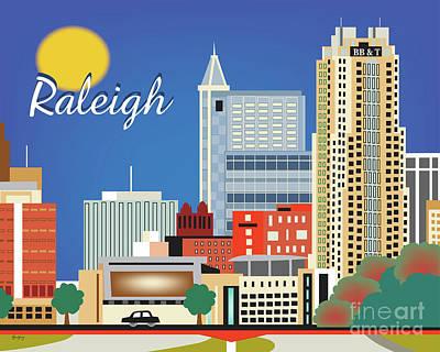 Raleigh North Carolina Horizontal Skyline Poster