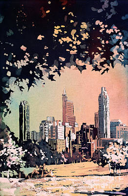 Poster featuring the painting Raleigh Skyline V by Ryan Fox