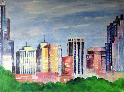 Raleigh Skyline2 Poster by Kimberly Balentine